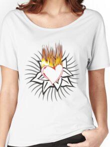 Flaming heart Women's Relaxed Fit T-Shirt