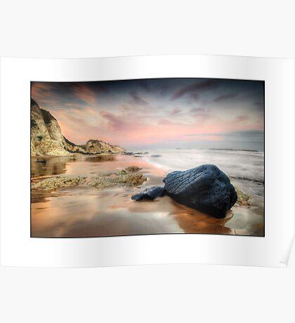 Black rock on White rocks Beach Poster