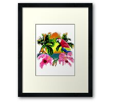 Parrot And Palm Trees Framed Print