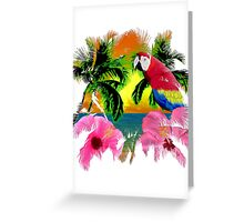 Parrot And Palm Trees Greeting Card