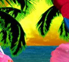 Parrot And Palm Trees Sticker