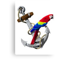 Parrot And Ship Anchor Canvas Print