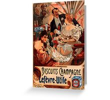 Biscuits Lefevre-Utile 2' by Alphonse Mucha (Reproduction). Greeting Card