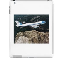 Air Force One, the typical air transport of the President of the United States of America, flying over Mount Rushmore. iPad Case/Skin