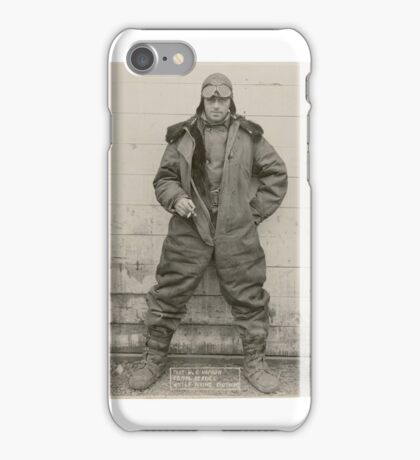 Airmail pilot William C. Hopson in winter flying clothing, ca. 1926 2 iPhone Case/Skin
