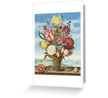 Ambrosius Bosschaert - Bouquet of Flowers on a Ledge Greeting Card