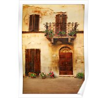 Tuscan door and balcony Poster
