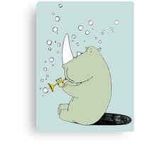 Rhino Blowing Bubbles Canvas Print
