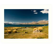 Scenic view of lake tekapo Art Print