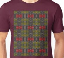 yellow and red splotches on black Unisex T-Shirt