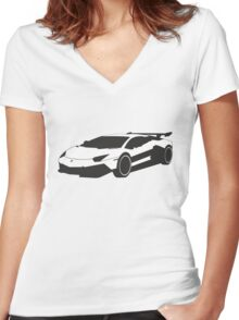 Lamborghini Women's Fitted V-Neck T-Shirt