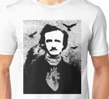 Poe with Ravens and Heart, transparent background Unisex T-Shirt