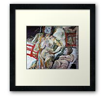Woman with red chairs Framed Print