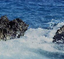 Waves Splashing On Coral Rock by Tex Smock