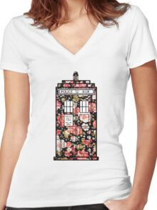 Floral TARDIS 2 Women's Fitted V-Neck T-Shirt