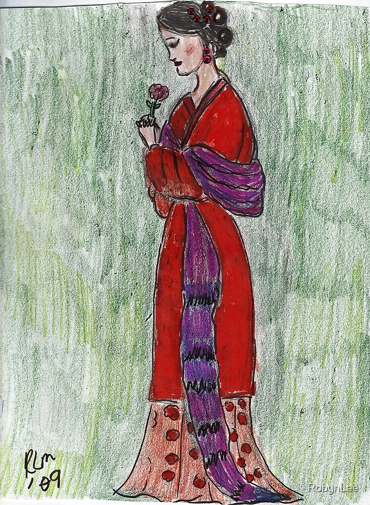 Lady Admiring A Flower -Asian Woman Series #2 by RobynLee