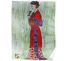 Lady Admiring A Flower -Asian Woman Series #2 Poster