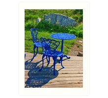 Blue Chairs and Table Art Print