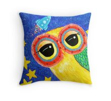 First Owl In Space Throw Pillow