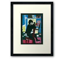 Fat Grrrl seated........... handcoloured silver gelatin photograph Framed Print