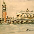 St Mark's Venice, Italy. 2010Pen and wash.  by Elizabeth Moore Golding