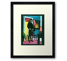 Fat Grrrl standing........... handcoloured silver gelatin photograph Framed Print