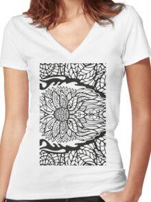Black White Pattern 1 Women's Fitted V-Neck T-Shirt