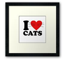 Funny - I Love Cats with moustache Framed Print