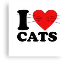Funny - I Love Cats with moustache Canvas Print