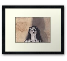 Realism Charcoal Drawing of Woman with Horns, Lilith Framed Print