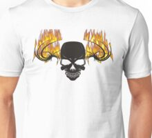 Flaming skull and tribal Unisex T-Shirt