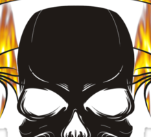 Flaming skull and tribal Sticker