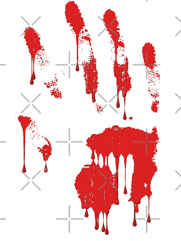 Bloody Red Hand Print Stickers By Queensoft Redbubble
