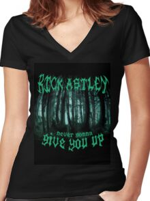 Never Gonna Give You Up - Rick Astley Women's Fitted V-Neck T-Shirt