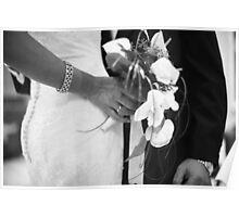 Bride and groom holding black and white wedding photograph Poster
