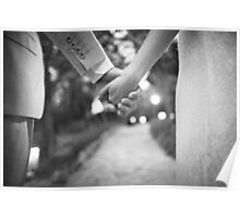 Groom holding hands with bride black and white wedding photograph Poster