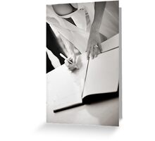 Sexy busty sensual bride signs marriage register black and white wedding photograph mariage ceremony Greeting Card