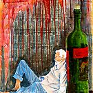 """Wino""  mixed media statement on society by Michael Arnold"