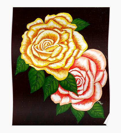 """""""Two Roses"""" original signed acrylic painting on canvas Poster"""