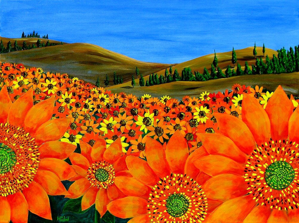 """""""Sunflower Field"""" Original Floral Nature Painting by Michael Arnold"""