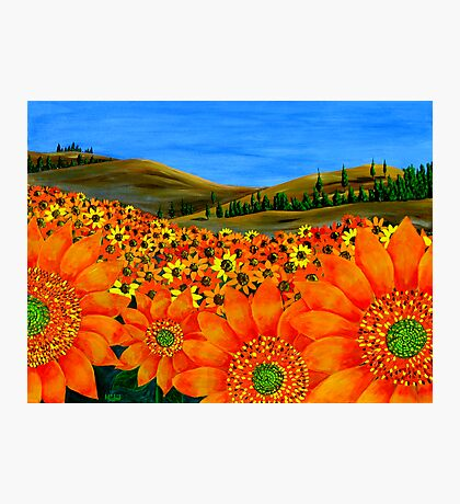 """""""Sunflower Field"""" Original Floral Nature Painting Photographic Print"""