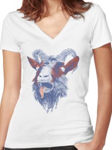 Rock Goat Women's Fitted V-Neck T-Shirt