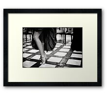 Sexy legs of female guest in party black and white wedding photograph Framed Print