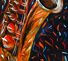 """Saxophone"" original signed acrylic painting on canvas by Michael Arnold"
