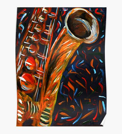 """""""Saxophone"""" original signed acrylic painting on canvas Poster"""