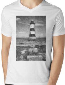 Penmon Lighthouse Mens V-Neck T-Shirt