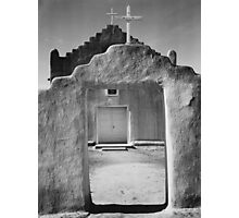 Ansel Adams - Front view of entrance, Church, Taos Pueblo National Historic Landmark, New Mexico, 1942 Photographic Print