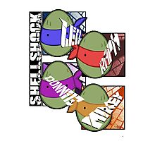 Shellshock Turtles (white) Photographic Print