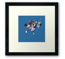 Awesome Grunge cat.  Framed Print