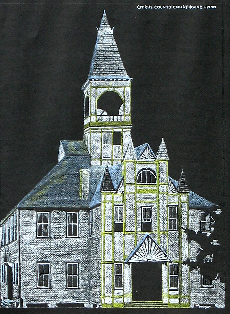 """Citrus County Courthouse 1900"" original signed drawing by Michael Arnold"
